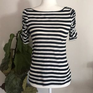 NWT Anthro LYB striped scrunch sleeve blouse